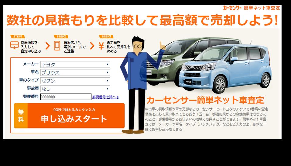 一括査定のカーセンサーの査定申込画面