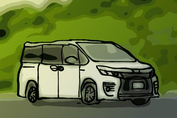 森に駐車しているヴォクシー