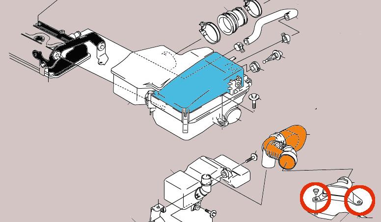 エアークリーナーダクトを固定するクリップ